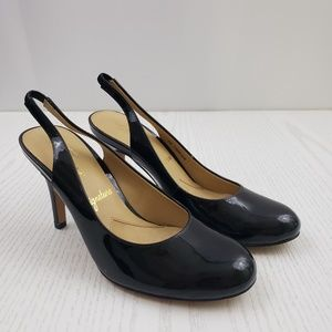 Trotters Black Patent Leather Slingback Heels 7N